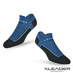 LEADER ST-01男款環形加壓 網眼導流透氣護踝薄短襪 運動襪  黑藍-急