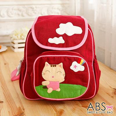 ABS貝斯貓 俏皮貓咪郊遊拼布包 小型後背包(棗紅)88-170