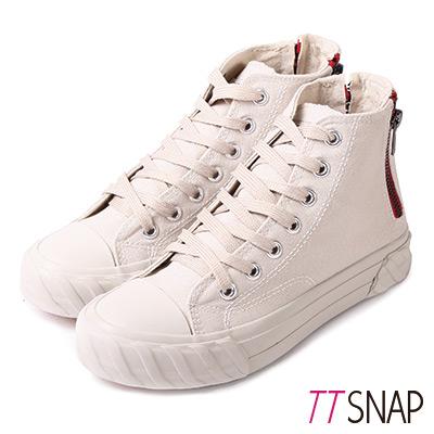 TTSNAP餅乾鞋-帆布綁帶後拉鍊高筒平底鞋 卡其