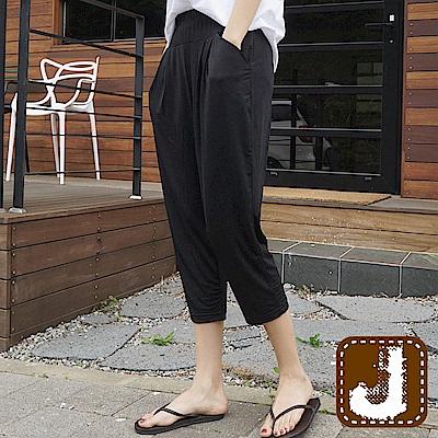 正韓 垂墜感柔軟絲質袋鼠褲-(黑色)100%Korea Jeans