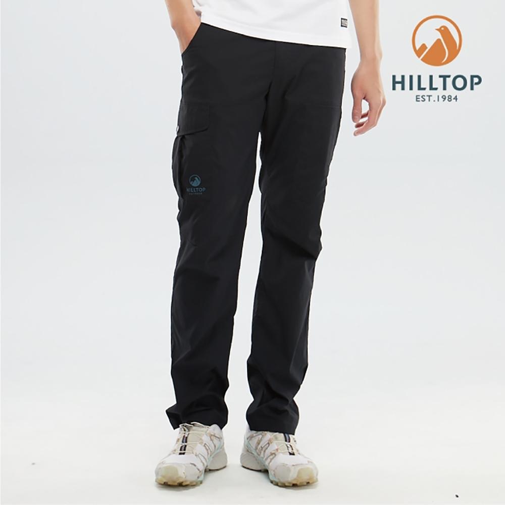 【hilltop山頂鳥】男款吸濕快乾彈性抗UV長褲S07MC9魚子醬黑