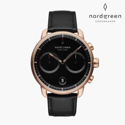 Nordgreen Pioneer 先鋒 玫瑰金系列 極夜黑真皮錶帶手錶 42mm