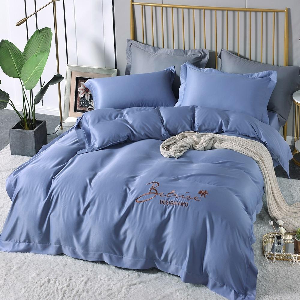 (超值加購枕套) Betrise極簡純色 抗菌天絲素色刺繡系列 超值薄被套+薄枕套床包組 (08.輕敲節奏-單人床包枕套二件組)