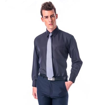 【金安德森】黑色斜紋吸排長袖襯衫