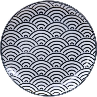 《Tokyo Design》瓷製餐盤(浪紋黑16cm)