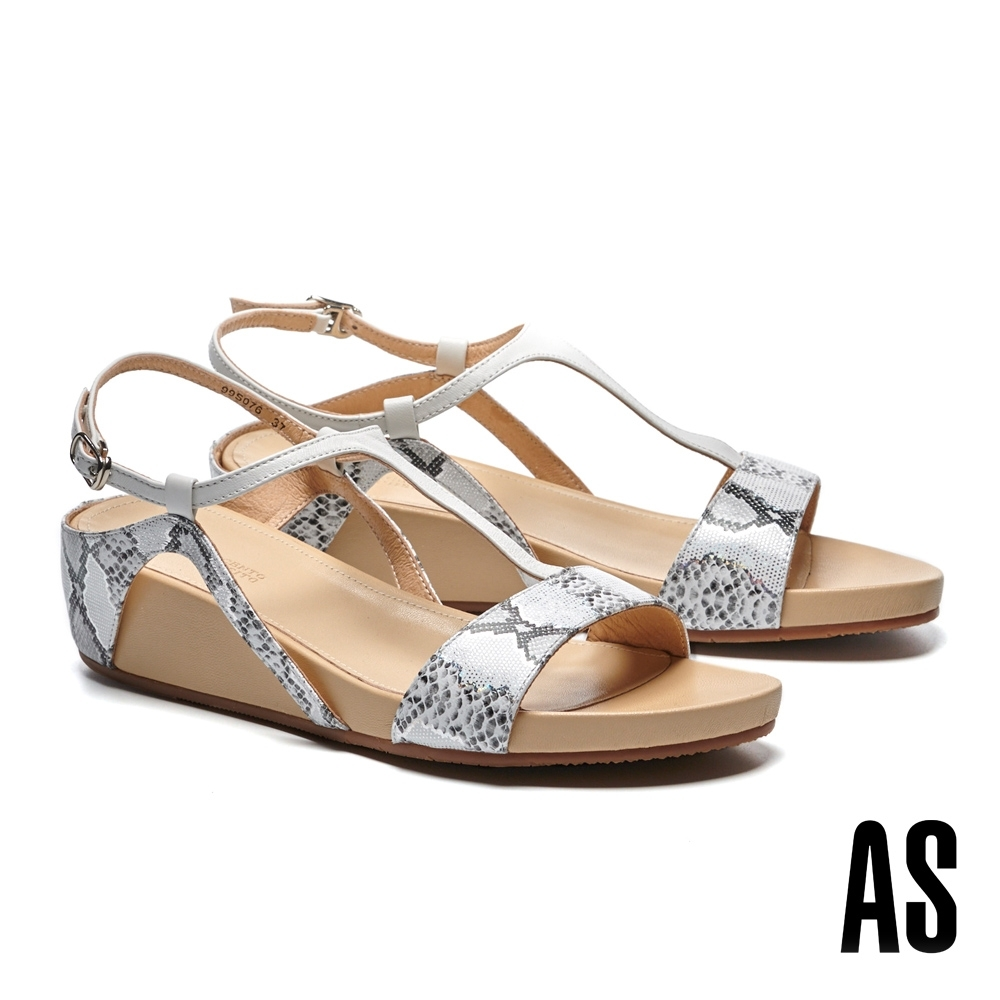 涼鞋 AS 時髦異材質拼接工字造型楔型高跟涼鞋-白