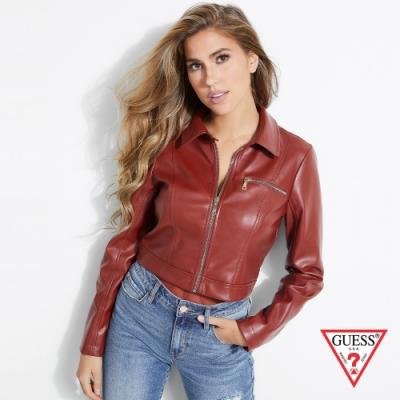 GUESS-女裝-修身拉鍊皮衣外套-紅
