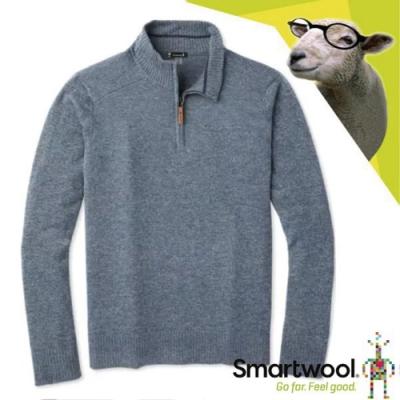 SmartWool 男 美麗諾羊毛 長袖半開襟保暖上衣_霧藍/泥灰