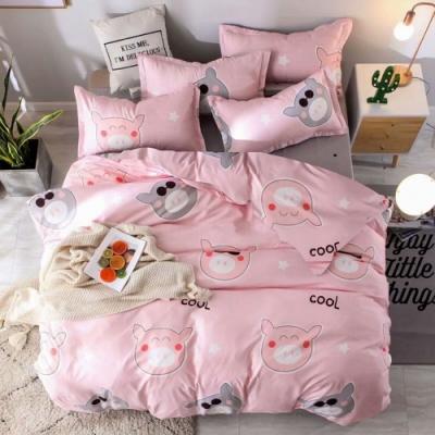 A-one 雪紡棉 雙人床包/枕套 三件組-酷酷豬