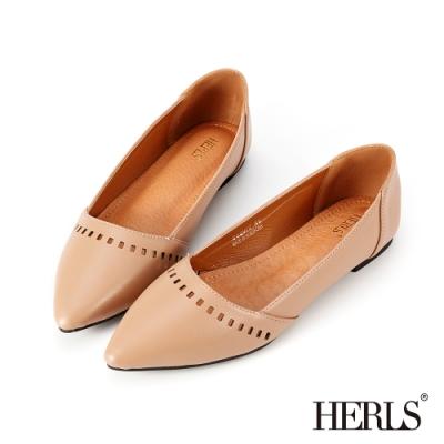 HERLS平底鞋-內真皮方塊鏤空尖頭鞋平底鞋-奶茶色