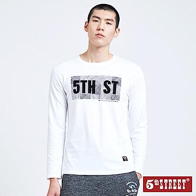 5th STREET 幾何潮流植絨LOGO長袖T恤-男-白色