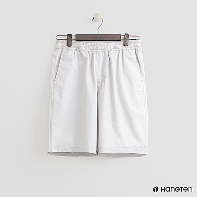 Hang Ten - 男裝-鬆緊純色棉質短褲 - 淺灰