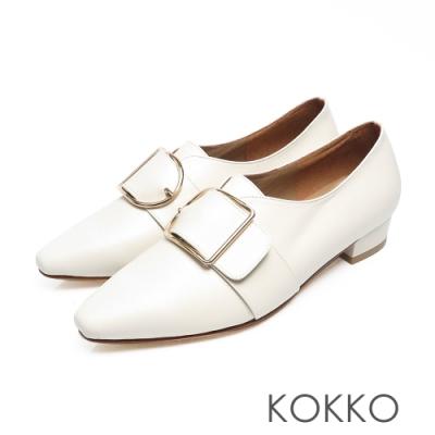 KOKKO - 柔軟羊皮方頭大D扣粗跟鞋 - 白色