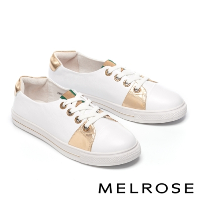 休閒鞋 MELROSE 質感時尚雙色拼接全真皮休閒鞋-白