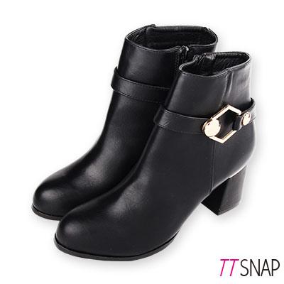 TTSNAP短靴-MIT訂製款六角金屬內裡刷毛中跟靴 黑