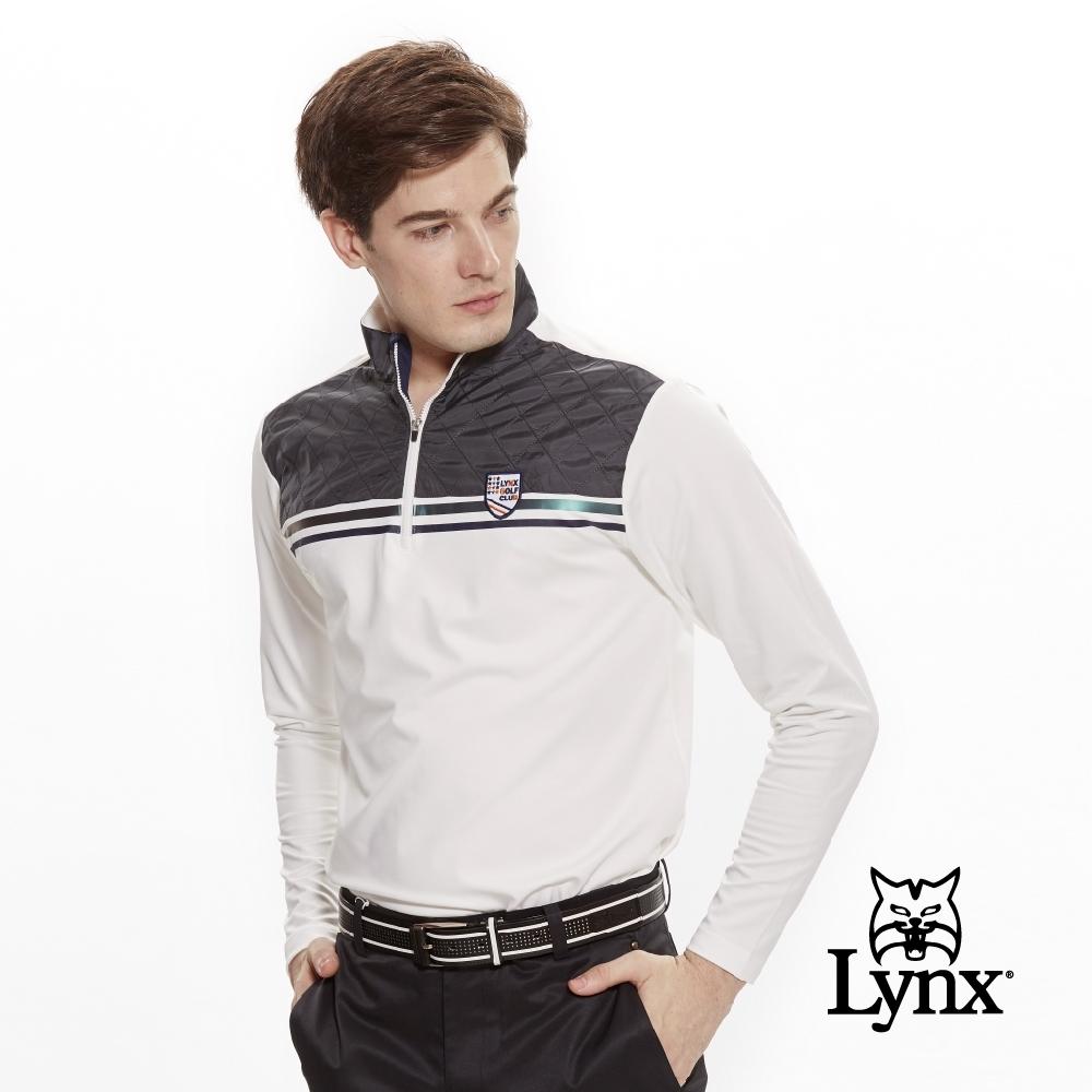 【Lynx Golf】男款異材質拼接反光貼條長袖立領POLO衫-牙白色