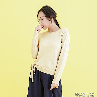 WHALE JEANS 亮點風情亮粉右蝴蝶結針織毛衣-2色
