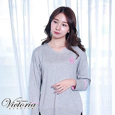 Victoria 條紋撞色寬鬆長袖線衫-女-麻灰