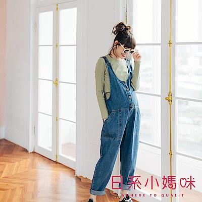 日系小媽咪孕婦裝-正韓孕婦褲 休閒排釦造型牛仔吊帶褲