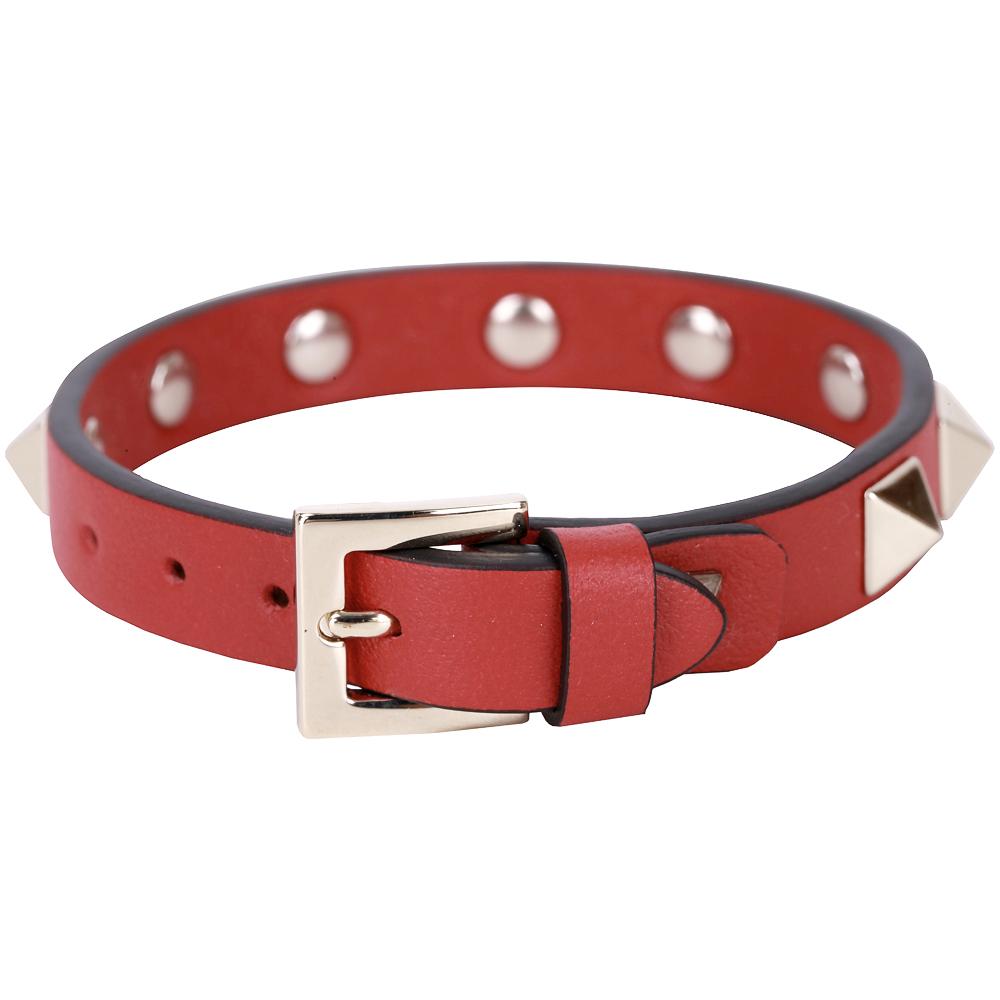 VALENTINO Rockstud 金色鉚釘小牛皮手環(紅色)
