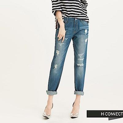 H:CONNECT韓國品牌女裝-Boyfriend破壞牛仔褲-藍(快)