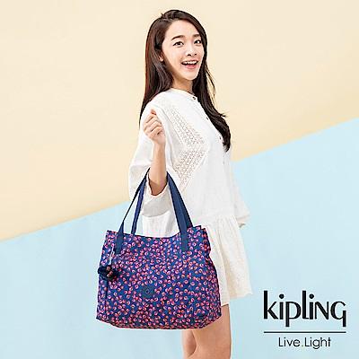 Kipling 古典茜紅小花梯形手提肩背包-PRAVIA