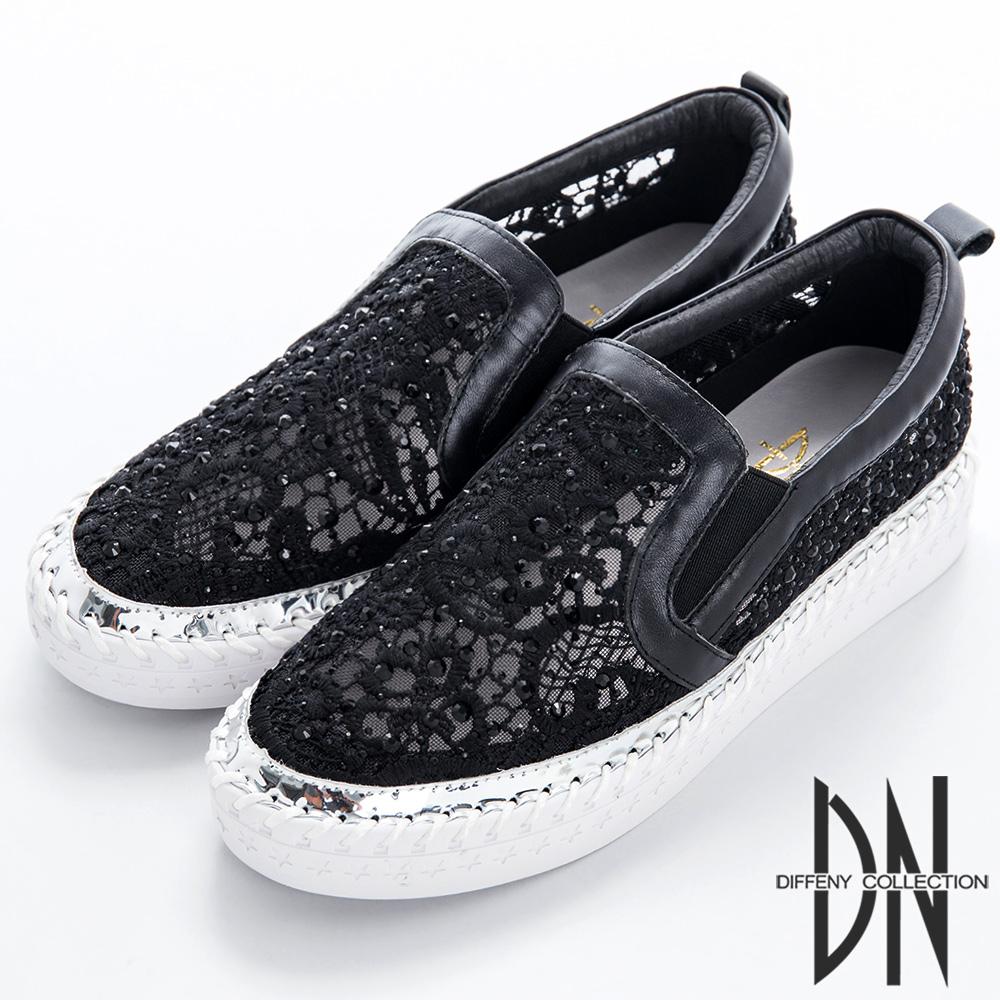 DN 衝突前衛 鑽面蕾絲MIX異材質休閒鞋-黑
