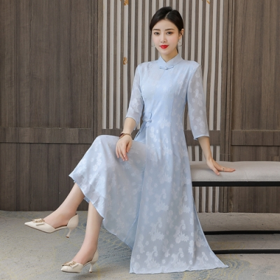 復古七分袖淡雅改良旗袍洋裝M-4XL(共二色)-REKO