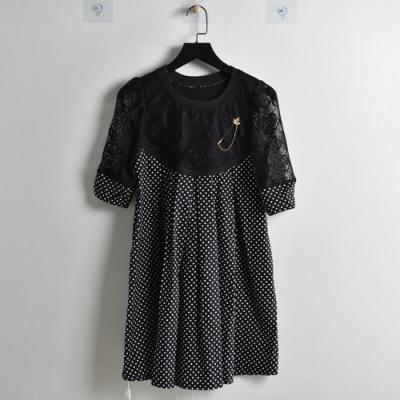 【韓國K.W.】(現貨)蕾絲印花歐美長洋裝(共1色)