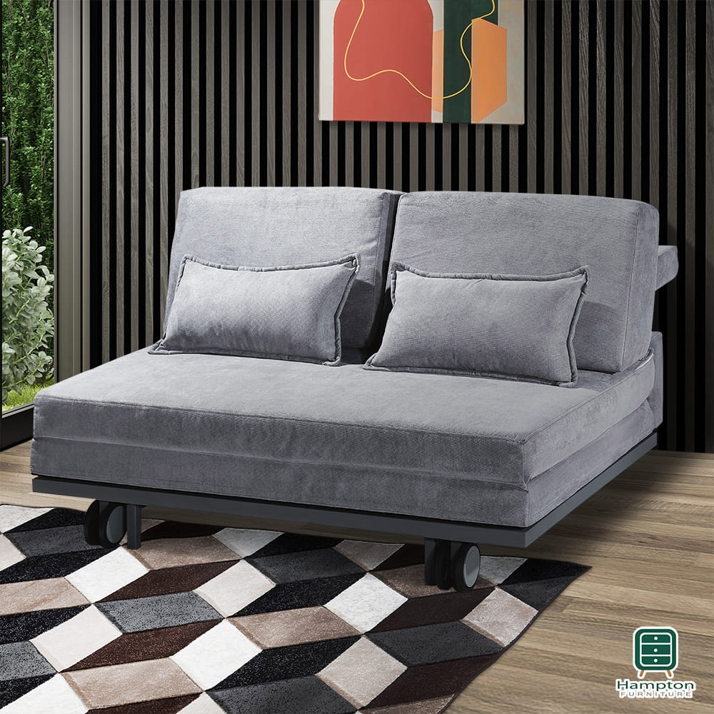 Hampton希托爾灰色布面雙人沙發床-150*110*87cm