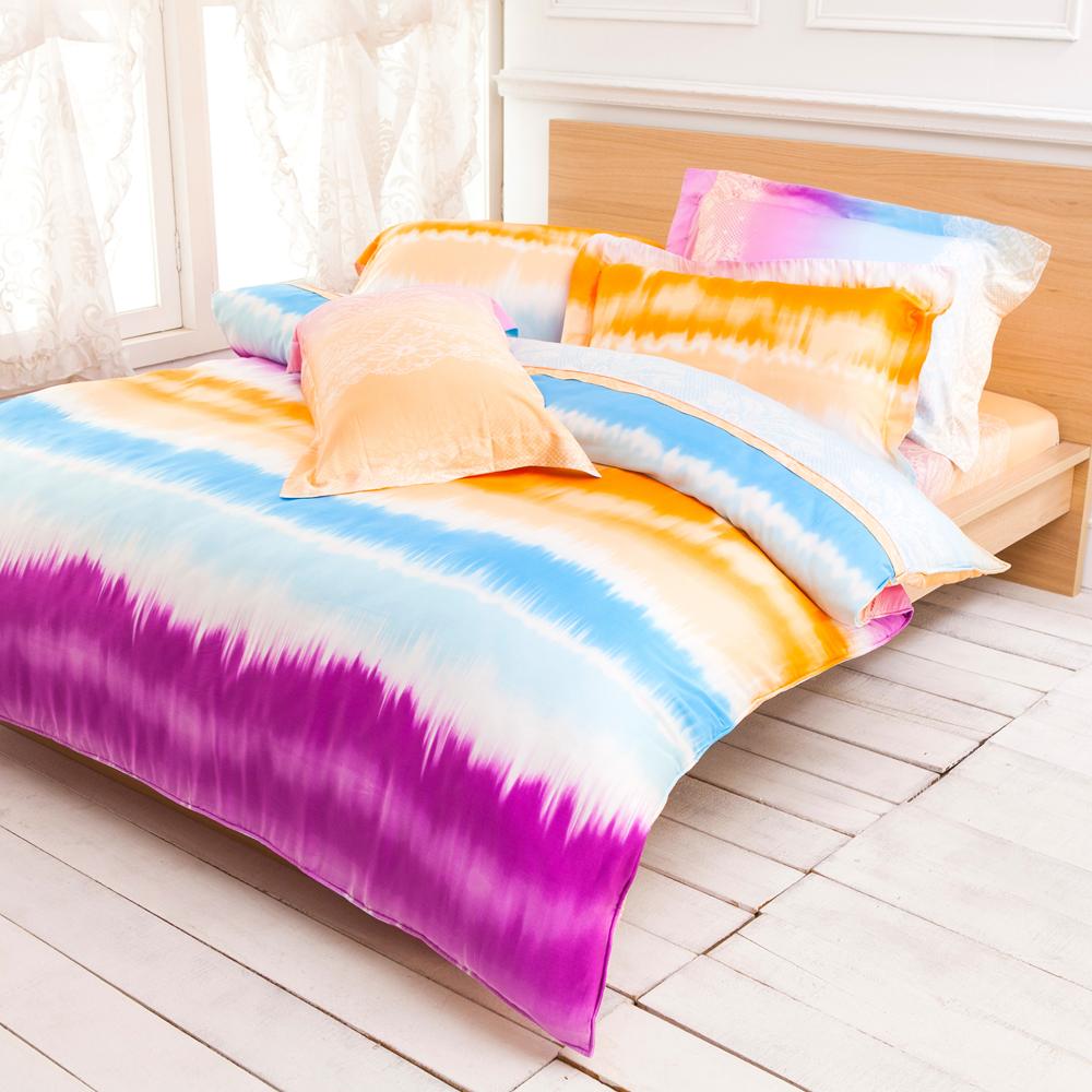 Betrise 絢影情彩 加大 100%天絲TENCEL四件式鋪棉兩用被床包組