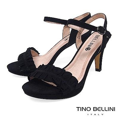 Tino Bellini 百摺緞帶質感繫踝高跟涼鞋 _ 黑