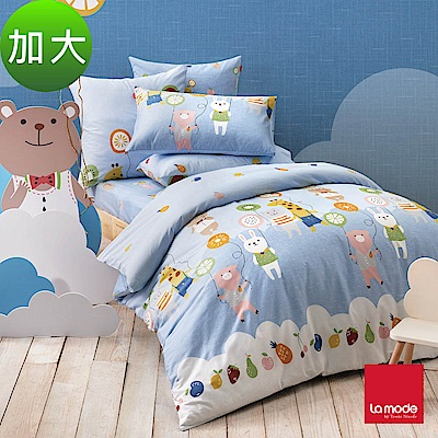 La mode寢飾 飄浮樂園環保印染100%精梳棉兩用被床包組(加大)
