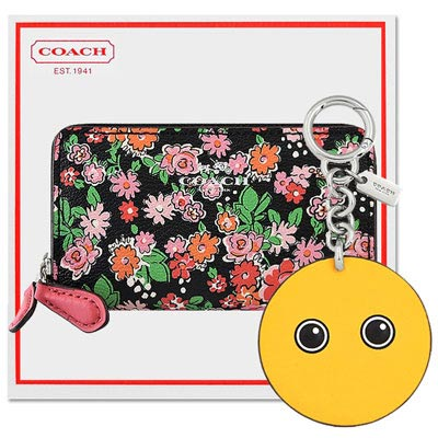 COACH 粉紅色花朵圖樣PVC雙層拉鍊名片夾/零錢包+COACH 黃色皮革壓紋鑰匙圈