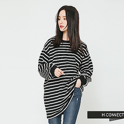 H:CONNECT 韓國品牌 女裝-寬鬆休閒條紋上衣-黑