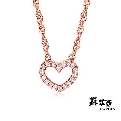 蘇菲亞SOPHIA 鑽石項鍊-滿分愛戀玫瑰金14K鑽鍊