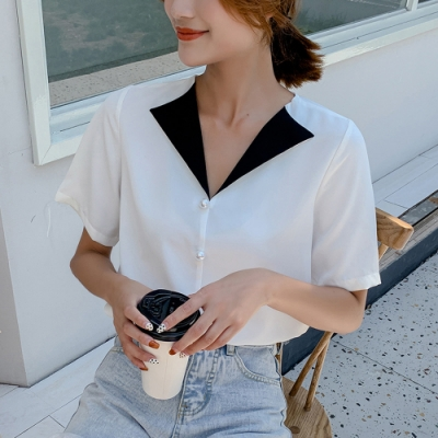 ALLK 配色釘珠雪紡衫上衣 白色(尺寸M-XXL)