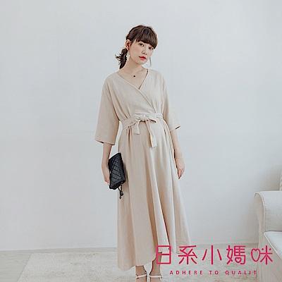 日系小媽咪孕婦裝-正韓孕婦裝 南法優雅腰打摺亞麻洋裝 附綁帶