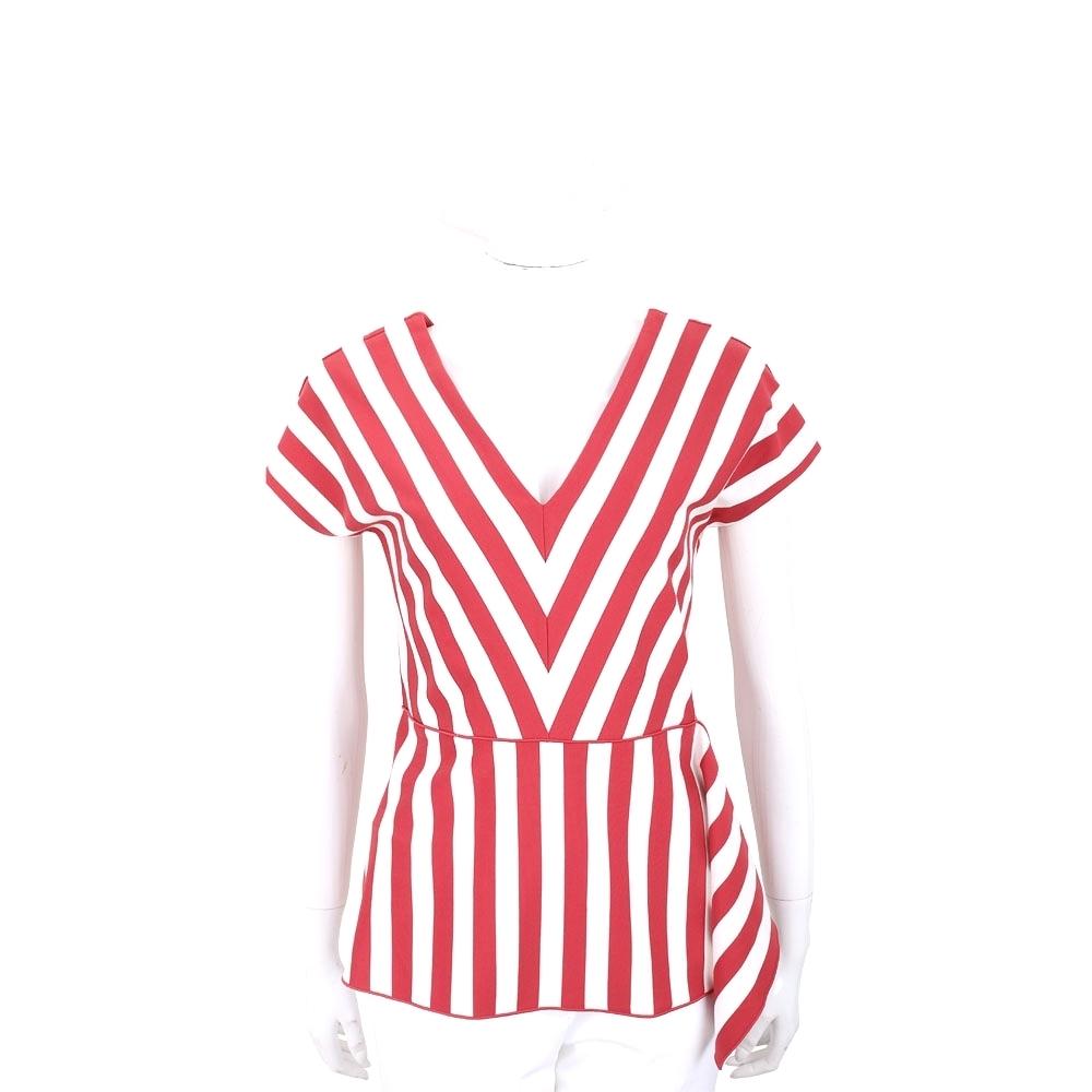 MAX MARA 紅白色條紋彈性嫘縈裁片前後V領上衣