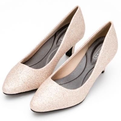 River&Moon中大尺碼-閃耀金蔥記憶鞋墊尖頭跟鞋婚鞋-細緻金