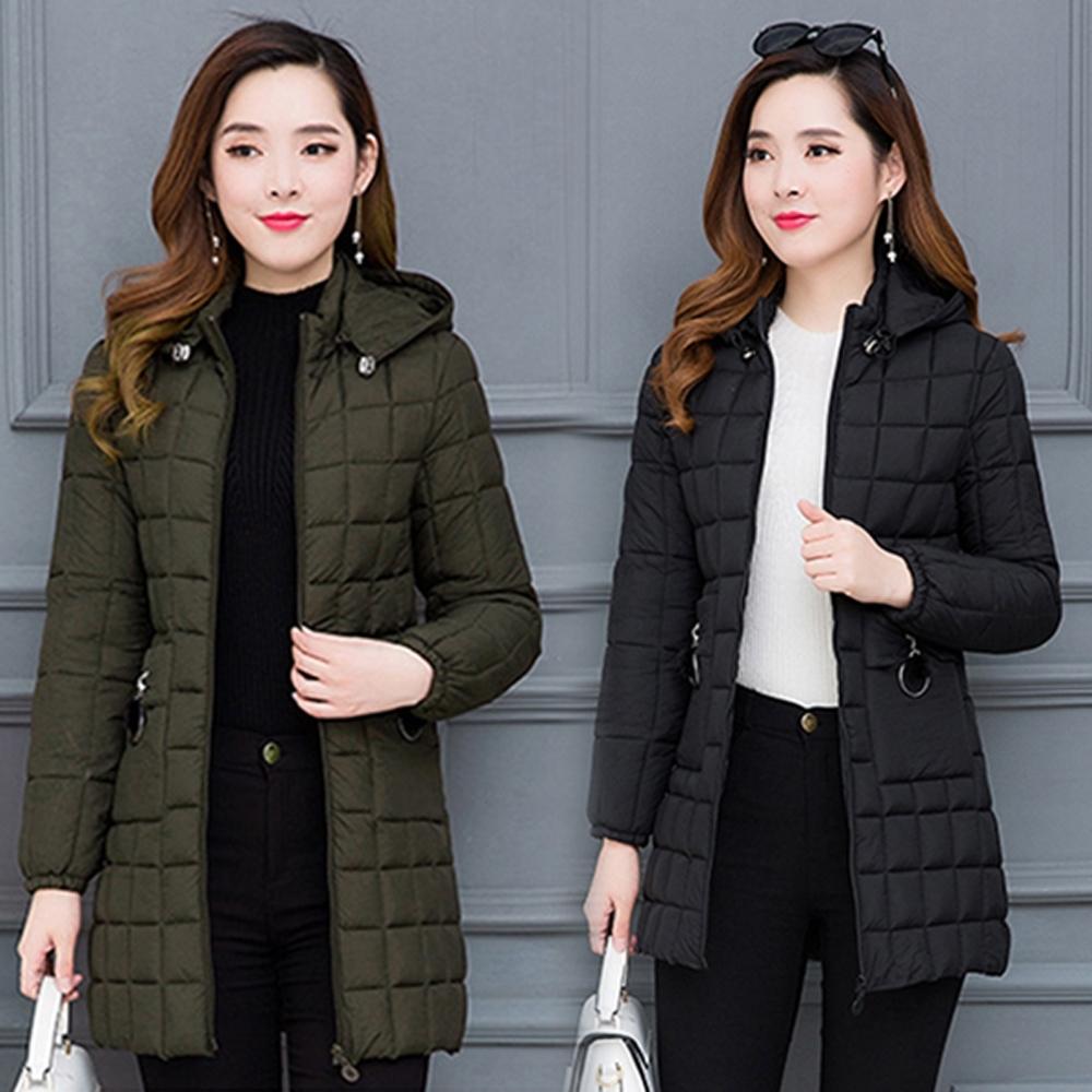 【韓國K.W.】口袋名品輕量羽绒棉中長外套(兩色可選)