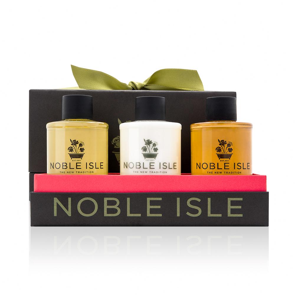 NOBLE ISLE 旅行三入組禮盒(夏季日出沐浴膠+香梨洗髮乳+香梨潤髮乳各75ML)