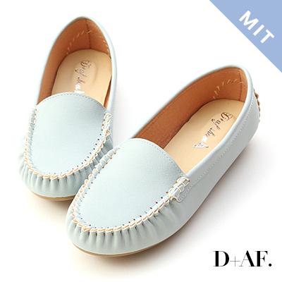 D+AF 舒適首選.MIT素面莫卡辛豆豆鞋*淺藍