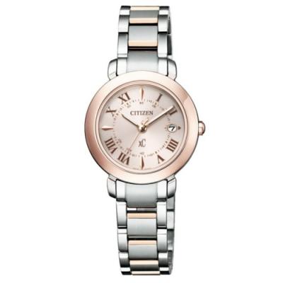 CITIZEN 星辰 xC光動能鈦金屬職場輕熟腕錶-櫻花粉金(ES9445-57W)