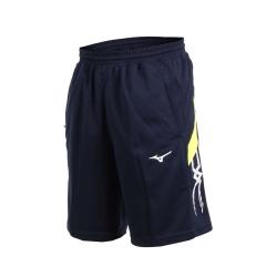 MIZUNO 男針織短褲-五分褲 運動短褲 訓練 慢跑 路跑 美津濃 丈青芥末黃