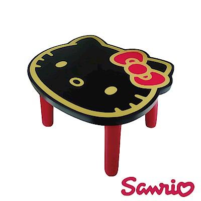 Hello Kitty 凱蒂貓 台灣製大頭造型矮凳椅子-黑