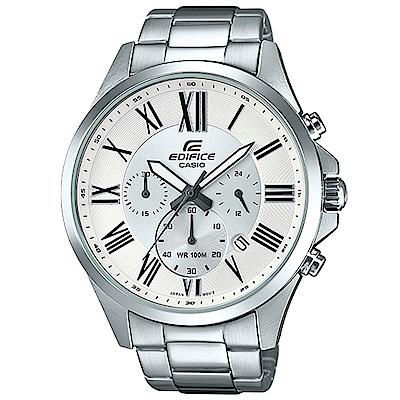 EDIFICE 經典羅馬時刻大錶面時尚腕錶(EFV-500D-7A)白/48mm