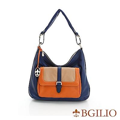 義大利BGilio-NAPPA軟牛皮時尚個性肩背包-深藍混色 1949.001-09