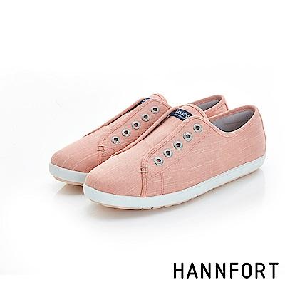 HANNFORT CALIFORNIA無綁帶氣墊帆布鞋-女-鮭魚粉