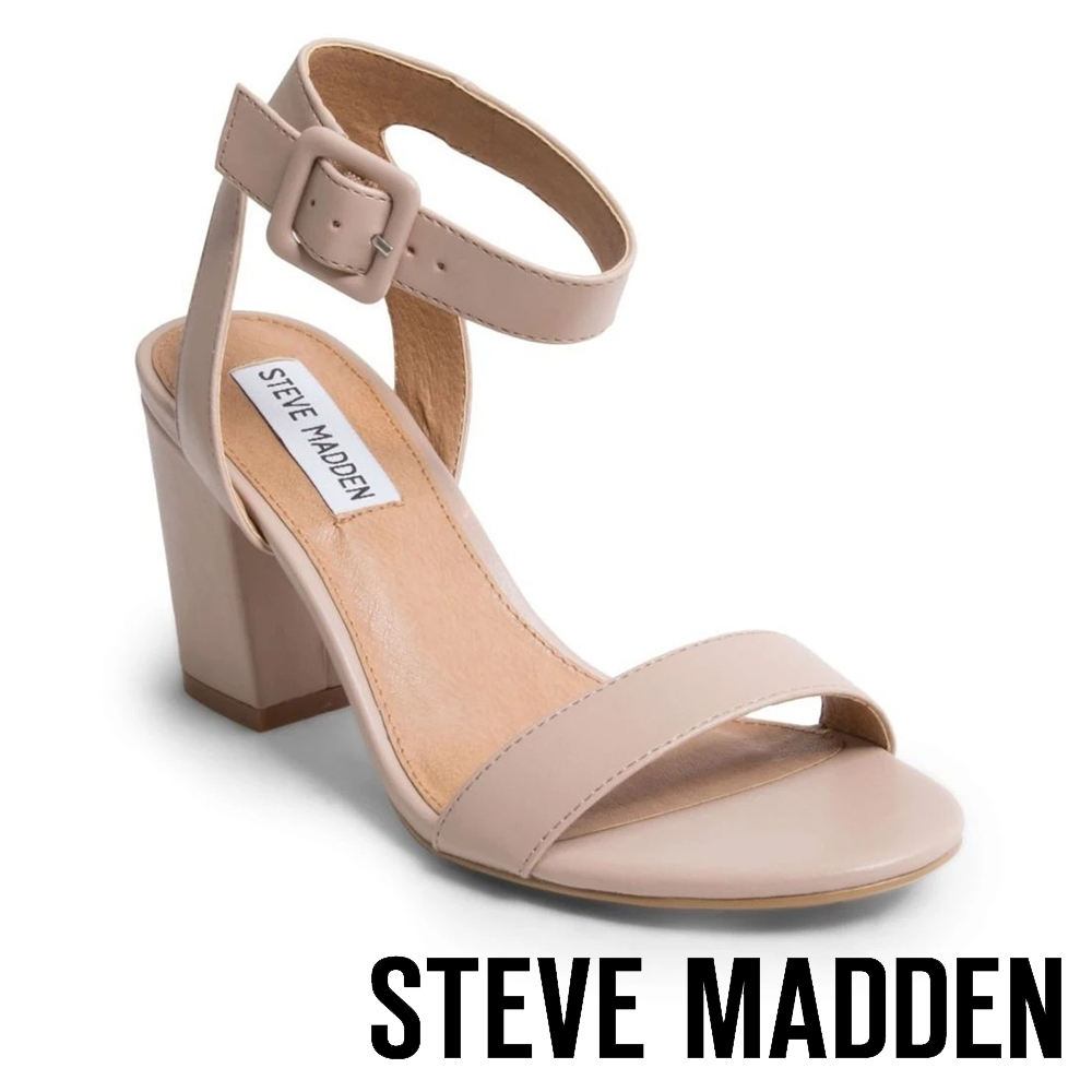 STEVE MADDEN-MALIA 甜美氣質 一字帶繫踝後鏤空粗跟涼鞋-淺粉紅